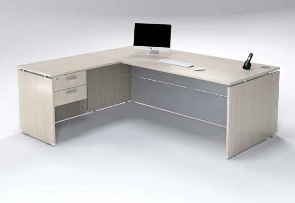 2m Desk With Extention 2 Drawers